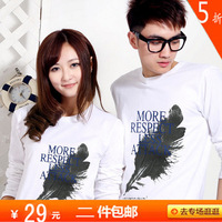 2012 autumn 100% cotton plus size letter lovers male women's long-sleeve T-shirt short-sleeve T-shirt