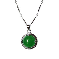 925 pure silver plated platinum necklace circle malay jade women's pendant jewelry chain birthday gift