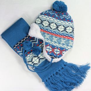 2013 Winter child hat scarf twinset thickening berber fleece hat baby kid cap Baby Hat 100%Cotton free shipping(China (Mainland))