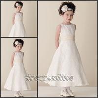 FG048 Custom Made Free Shipping Princess Ivory Lace Flower Girl Dress Ankle Length A Line