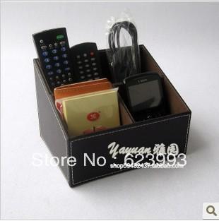 Desk organizer Leather cell phone TV remote control holder organizer media storage candy nine colors desktop storage box(China (Mainland))