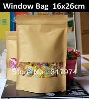 16x26cm Brown Kraft Paper Window Bag Doypack Ziplock Packaging Bag Free Shipping