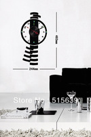 Watch Wall Clocks Vinyl  Black Stickers Moderm Art Novelty  Gifts Watch Home Furniture Decoration Living Room Hours 10D019
