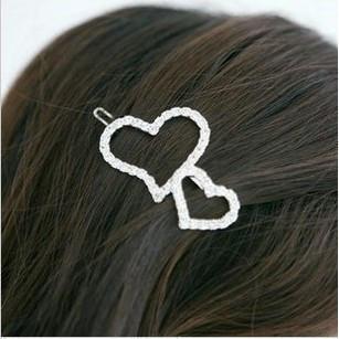 Accessories full rhinestone cutout heart side-knotted clip love hair pin girls hair bow clip accessory