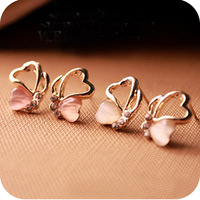 Min.order is $10 (mix order) Oe0116 popular rhinestone eye love - cutout butterfly stud earring