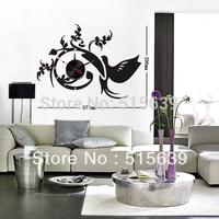 DIY Wall Clocks Vinyl  Black Stickers Moderm Art Novelty  Gifts Watch Home Furniture Decoration Phoenix Living Room Hours 10D040