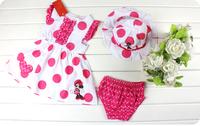 2013 Wholesale Minnie Summer 3-pcs baby girls clothes set (dress + pants + double sun hat),5 set/lot,Free Shipping