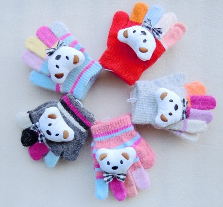 2013 Multicolour winter cartoon bear baby gloves child gloves Baby Kid glove 100% cotton Free shipping(China (Mainland))