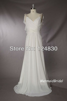 Free Shipping cheap Unique Best-selling Gentle A-Line Ruffles V-neck Spaghetti Straps Backless Wedding dresses