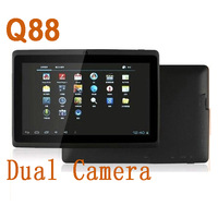 by dhl or ems 10 pieces Newest 7 inch android 4.0 tablet pc Q88 Capacitive Screen 512M 4GB Dual Camera WIFI allwinner a13