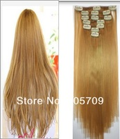 Remy Hair Straight 24'' 8pcs 100% human hair extensions 140g #27 the best  gifts for ladies free shipping