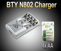 Smart AA AAA Ni-MH Ni-Cd Rechargeable Battery BTY N802 Charger+ 4x AA 1.2V 3000mah rechargeable Ni-MH battery