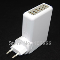 100pcs(50sets), 6 USB Ports Wall Charger Power Adapter with EU Plug for iPad iPod iPhone 5 5G 4G 4S Samsung i9300 i9500