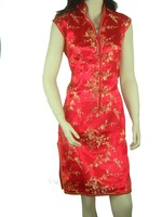 Red Chinese tradition  Ladies Cheongsam Qipao Evening Wedding Mini Dress Size:S M L XL XXL XXXL