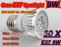 Dimmable NEW CREE  E27/GU10 3*3W 9W LED Light led bulb Lamp Spot light spotlight Replacement 80W DHL/FEDEX free 50 pcs