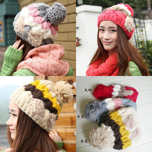 YBB The new autumn and winter warm hat female Korean bow pearl cap wool knit cap wholesale B156(China (Mainland))