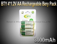 Genuine BTY 4*1.2V 3000mAh AA Rechargeable Ni-MH Battery Pack