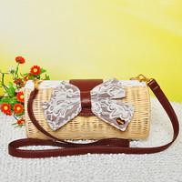 Straw bag mushroom 2013 beach cross-body bow lace women's rattan handbag