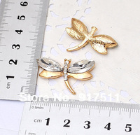 Alloy Accessories Diamond white Dragonfly With Rhinestone Crystal for DIY Jewelry Decoration Accessory Cell Phone Ornament