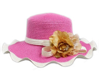 F05051 Woman Korean Style Summer Spring Wide Brim Floppy Flower Straw Braid Beach Sun Hat Cap