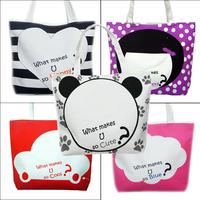 Promotion cheap handbags Eco-friendly canvas doll car shopping bag for women Free shipping 2pcs/lot Wholesale