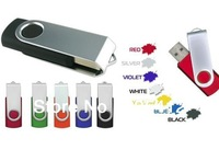 100pcs/lot Real capacity 12 colors 1GB 2GB 4GB 8GB Swivel USB Flash Drive Free Shipping
