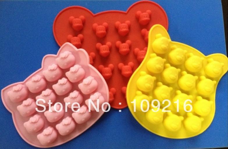 3pcs/set New style Bear Mickey Kitty Green Good Quality 100% Food Grade Silicone Cake/Chocolate/Jelly/Pudding/Ice/Candy DIY Mold(China (Mainland))