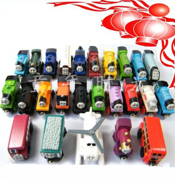 Free shipping! 30pcs/lot Different style headstock+railway carriage Thomas locomotive toy logs Thomas magnetic train track toy