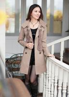 FREE SHIPPING 2013 spring/winter HOTSALE double breasted coat solid color / Slim waist outwear winter long coat women Black