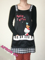 Black Plaid Hello Kitty Apron for Adult Kitchen Apron