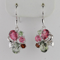 Female accessories natural crystal tourmaline earrings drop earring 925 pure silver