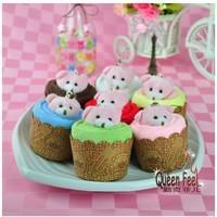 Creative Cute Bear New Customized Cotton Towel Lovely Bear Cupcake Towel Cake  5pcs/lot  free shippoing