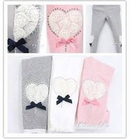 baby girl fashion leggings heart-shaped pattern pure cotton stockings varabow Leg warmers pants