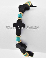 New Style Charms! 10pcs / Plated Gold Beads  / Black Turquoise / Sideways / Cross Stretch Bracelet  ~ Jewelry Gift