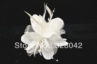Free shipping Bride wedding pearl feather flower brooch fashion 3.5''chiffon fabric flowers hairpin hair accesories 150pcs/lot