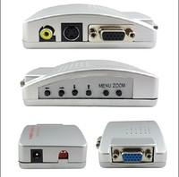 Universal PC VGA to TV AV RCA Adapter Converter Video Switch Box For NTSC PAL system - Free Shipping