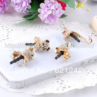 2013HOTSALE Top Grade Lovely Rhinstone Animal Cell Phone Dust Plug Charm Adventure Time Stock WholesaleFree Shipping XZ450