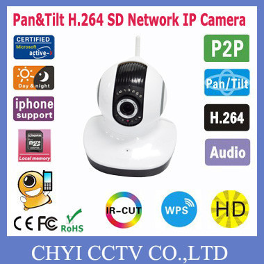 1/4 CMOS sensor 100,0000 pixel WIFI SD H.264 P2P Wireless IP Camera with Len standard 3.6mm,Support plug and play function(China (Mainland))