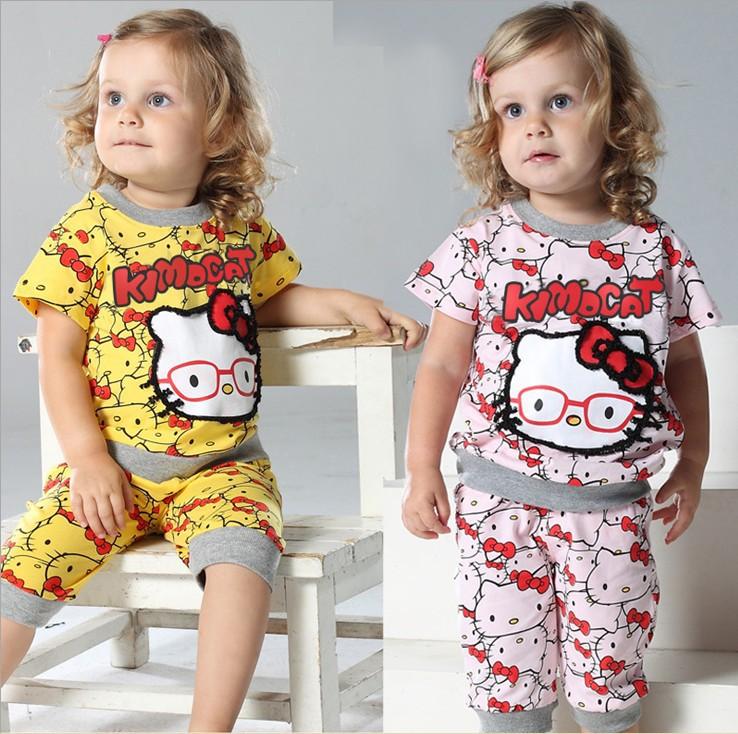 summer latest design new cotton suits / High quality baby girls kt glasses shirt + pants set children printed garment girls wear(China (Mainland))