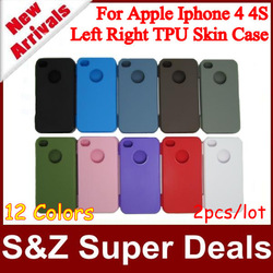 2pcs/lot Hot Selling Left and Right Open TPU Silicon Soft back case covers for iphone 4 4S +Best Price(China (Mainland))