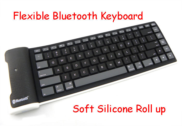 Portable Flexible Bluetooth Keyboard Soft Silicone Roll up Keyboard Washable 85 Keys wireless for Pc tablet laptop(China (Mainland))