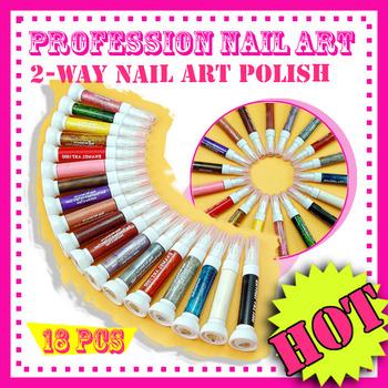 free shipping Brand New Pull Pen 18 Sparkle Color Polish Dual way Pen Brush Nail Art PS025