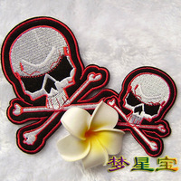 Free Shipping 1set/lot(1set=2pcs) New Arrival Punk Style Self-adhesive Fabric Sticker Skull Patches Cotton Cloth Paste Wholesale