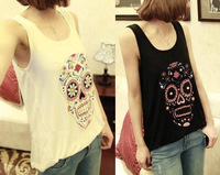 New 2014 Wholesale Fashion Women's Tanks Tops Length 56cm Elastic Cotton Print Skull Pattern Camisole Vest Waistcoat 1pcs/lot