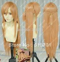 TOP quality New Sword Art Online Asuna Yuuki Braid Cosplay Wig free shipping
