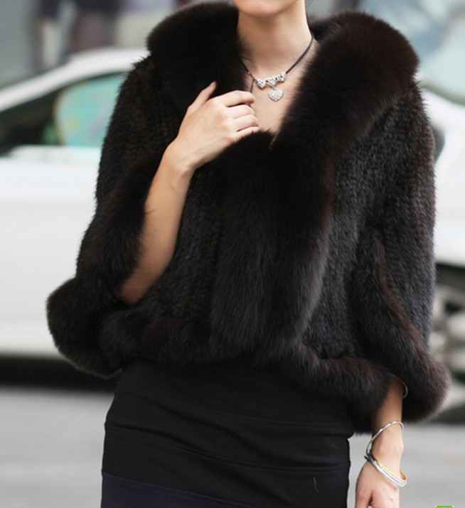 2013 High quality Free Shipping to EMS/DHL Genuine Knitted Mink Fur Shawl/Wrap/Cape with Fox fur collar mink fur coat(China (Mainland))