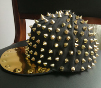 2013 NEW FASHION Hedgehog Punk Hiphop Unisex Hat Adjustable Gold Spikes Spiky Studded Cap WM-01