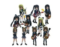 K-ON figure Set of 10 pcs Cute Anime K-ON Mio Akiyama 4 inch PVC figure toy Set