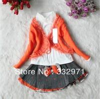 baby girls fashion suit kids t-shirt + skirt + cardigan 3pcs set children spring autumn clothing free shipping