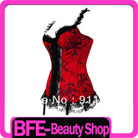 Adjustable Sexy Satin Long Bodied Corset Basque Red with black decoration # M L Free shipping
